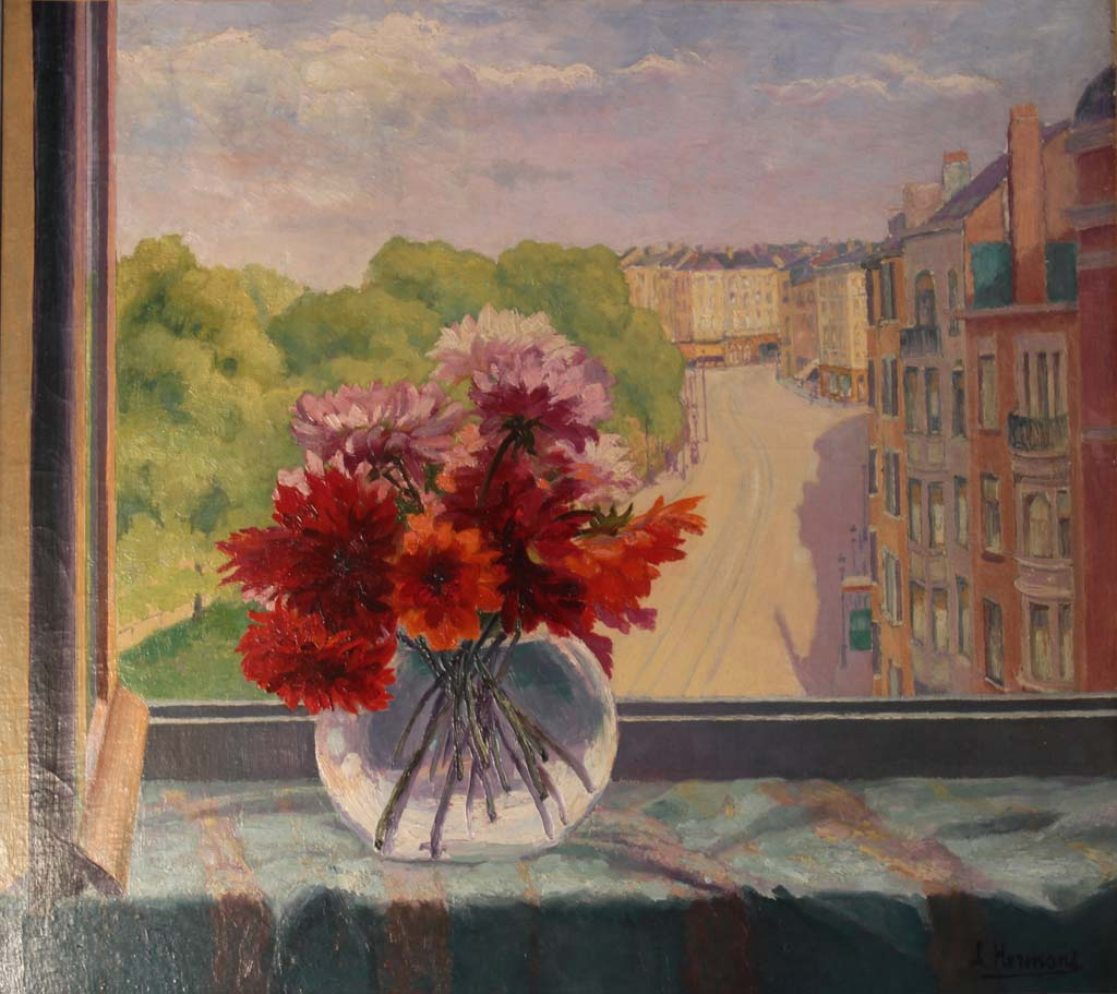 A. Hermans – Flowers in a window in Brussels