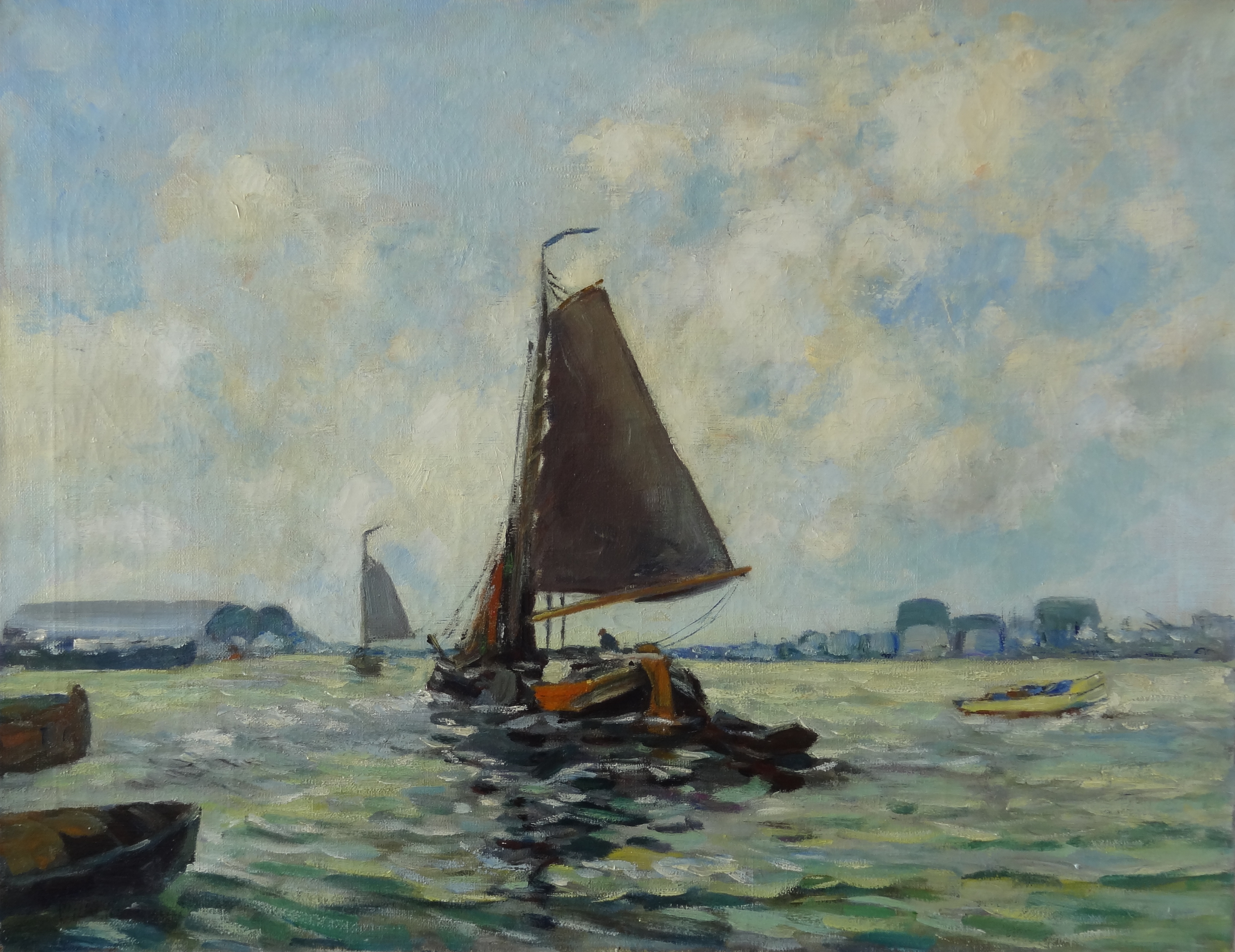 Unknown - Sailingboats in harbor of Amsterdam