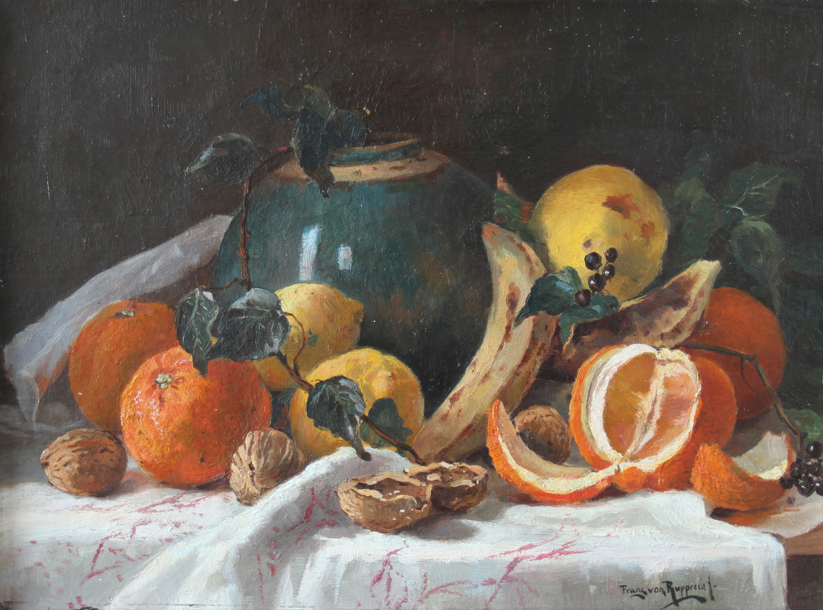 Franz T. (Freiherr) von Rupprecht – Still life with oranges and various fruits