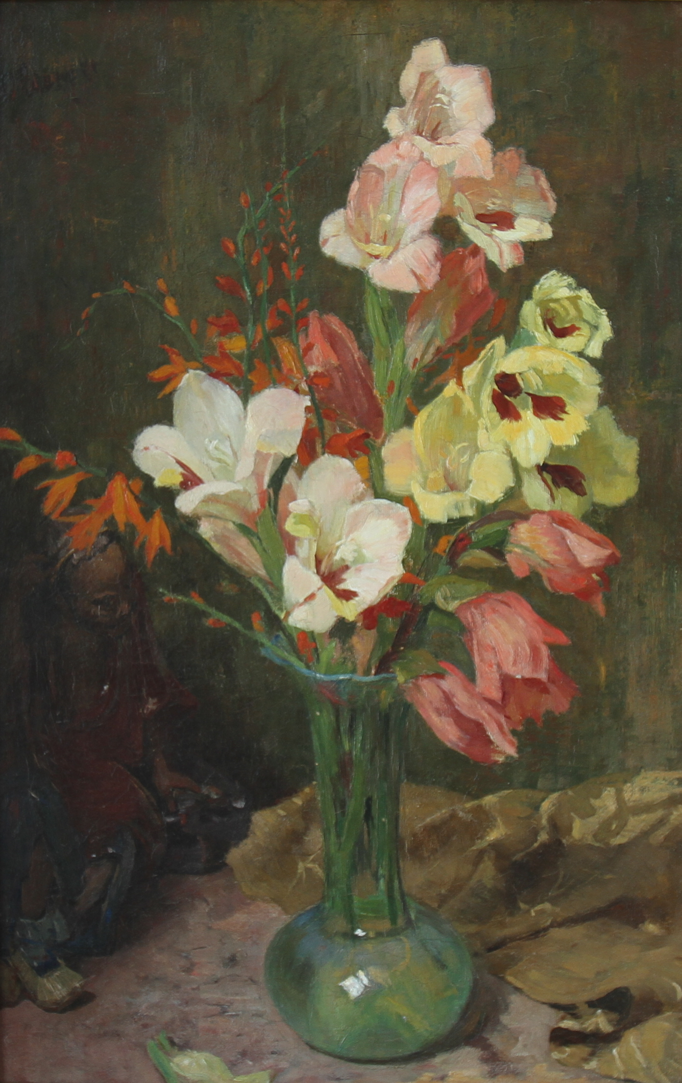 Ferdinand Oldewelt - Still life with gladiolus and a Chinese statue