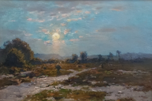 Adrianus Miolee - Moon light on the moorland