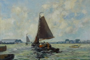 Willy Beekhuis - Sailingboats in harbor of Amsterdam