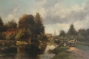 Jacob J. van der Maaten - Village with people along the river